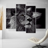 African Wild Cat Modern Animal 5 Piece 0ver Size S Artwork Image Canvas Print for Room Wall Disposition