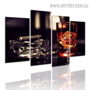 Whiskey Cigar Glass Beverage Modern 5 Multi Panel Art Image Canvas Print for Room Wall Adornment