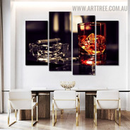 Whiskey Cigar Ice Modern 5 Over Size Beverage Artwork Image Canvas Print for Room Wall Assortment