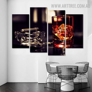 Whiskey Cigar Bowl Modern Beverage 5 Piece Split Painting Image Canvas Print for Room Wall Onlay