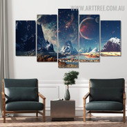 Space Mount Modern 5 Piece Large Size Image Naturescape Canvas Artwork Print for Room Wall Assortment