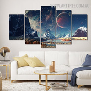 Space Mount Naturescape 5 Piece Split Art Image Contemporary Canvas Print for Room Wall Equipment