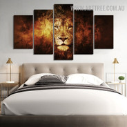 Tarnish Lion Animal Modern 5 Piece Large Size Abstract Artwork Image Canvas Print for Room Wall Garniture