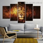 Tarnish Lion Modern 5 Piece Animal Abstract Split Art Image Canvas Print for Room Wall Getup