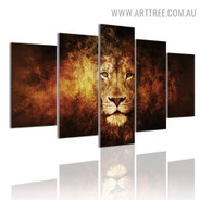 Tarnish Lion Spot Abstract 5 Piece Multi Panel Animal Image Modern Canvas Painting Print for Room Wall Onlay
