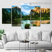 Arbor Pond Sky Modern 5 Piece Multi Panel Image Canvas Naturescape Landscape Painting Print for Room Wall Garnish