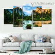 Arbor Pond Mountains Naturescape Landscape Modern 5 Piece Split Art Image Canvas Print for Room Wall Flourish