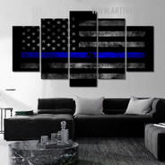 Usa Flag Stars Abstract Modern 5 Piece Split Art Image Canvas Print for Room Wall Outfit