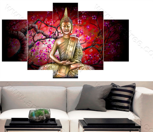 Red Background Buddha Art