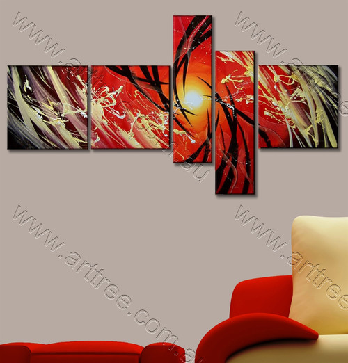 Sun with Red Base Canvas Painting