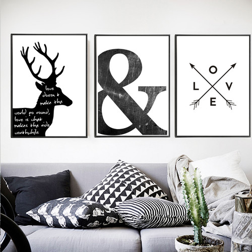 Minimalist Black and White Deer, Ampersand Symbol and Love Arrows