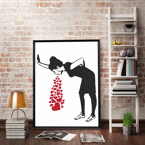 Black and White Love Sick Lady Banksy Art Print