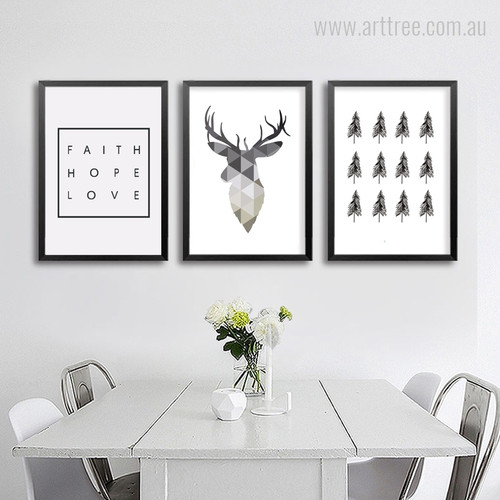 Geometric Deer, Faith Quote and Tree Digital Wall Art