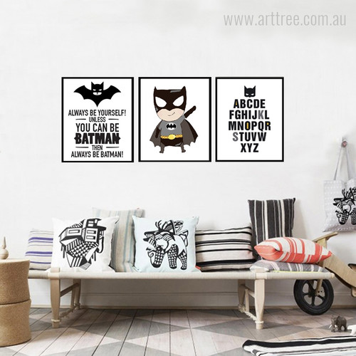 Batman Logo Cartoon Alphabets Wall Art Set