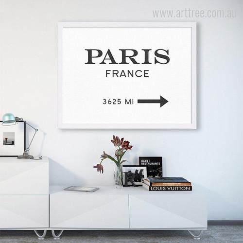 Modern Paris France 3625 MI Black and White Print