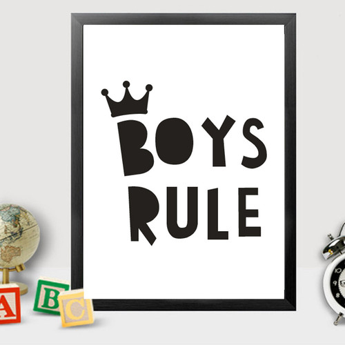 Black and White Boys Rule Crown Boy Kids Room Decor