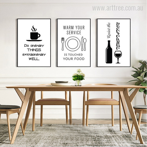 Quote for Kitchen Black and White Digital Canvas Prints