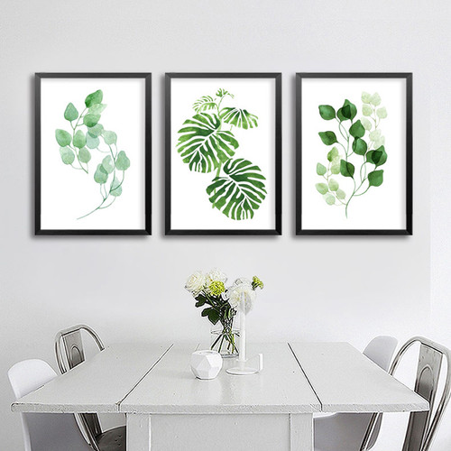 Minimalist Natural Green Leaf Rolled Wall Art