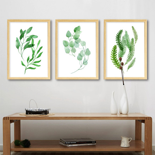 Minimalist Natural Green Leaf Rolled Canvas