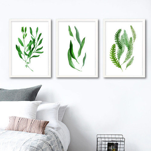 Minimalist Natural Green Leaf Set Digital Print