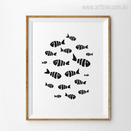 Minimalist Fish Design Canvas Wall Art