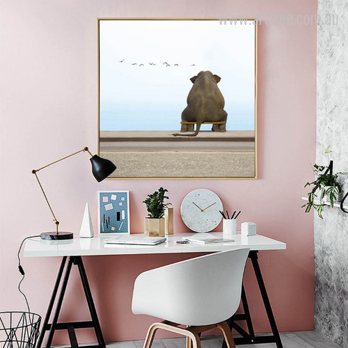Seated Elephant Animal Photo Canvas Wall Art
