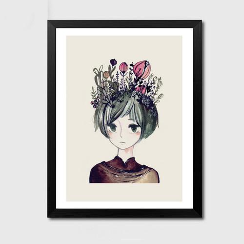 Minimalist Nature Nordic Floral Girl Design