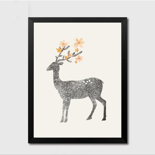 Minimalist Nature Nordic Forest Deer Animal