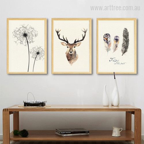 Abstract Deer Animal Dandelion Feathers