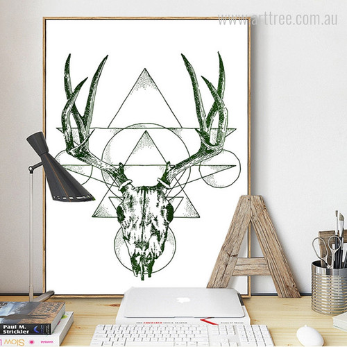 Geometric Green Deer Animal
