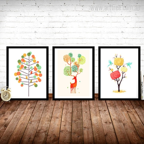Abstract Landscape Multi color Tree Birds and Deer Wall Art