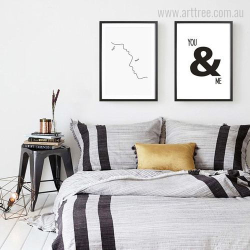 Minimalist Kiss Romantic You & Me Wall Art Set