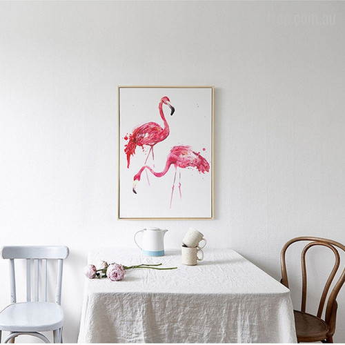 Modern Flamingo Birds Canvas Wall Art
