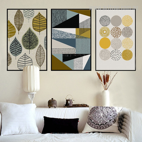 Abstract Geometric Leaves Circles Design