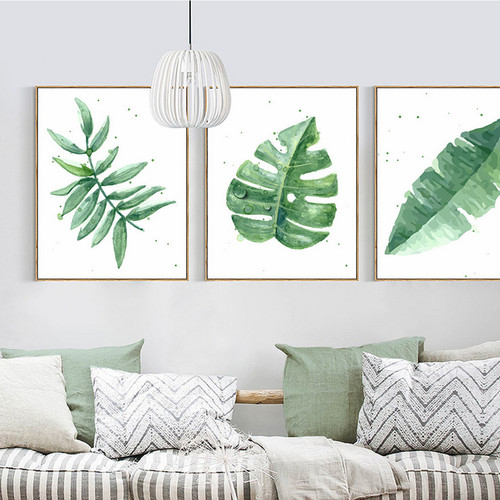 Watercolor Plant Green Leaves Minimalist Design