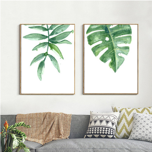 Minimalist Watercolor Green Leaves Canvas Prints