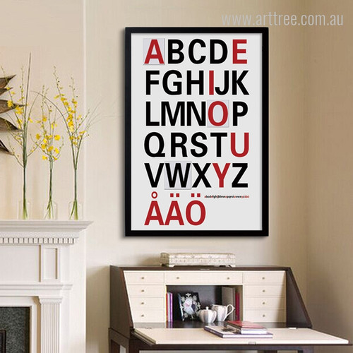 ABCD Alphabets Modern Quote Design for Kids Room Decor
