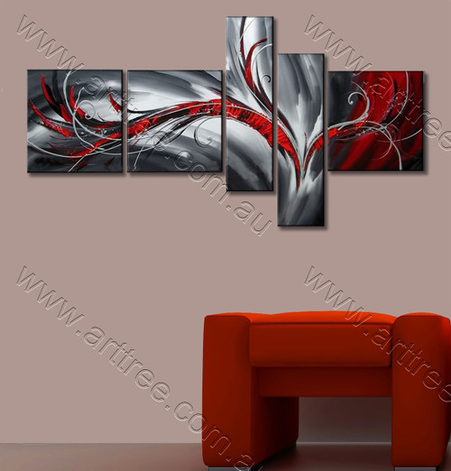 Red & Black Abstract Oil Painting