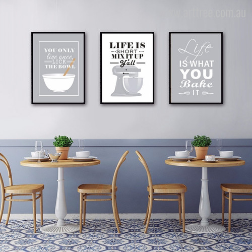 Grey Baking Life Quotes Wall Art Decor