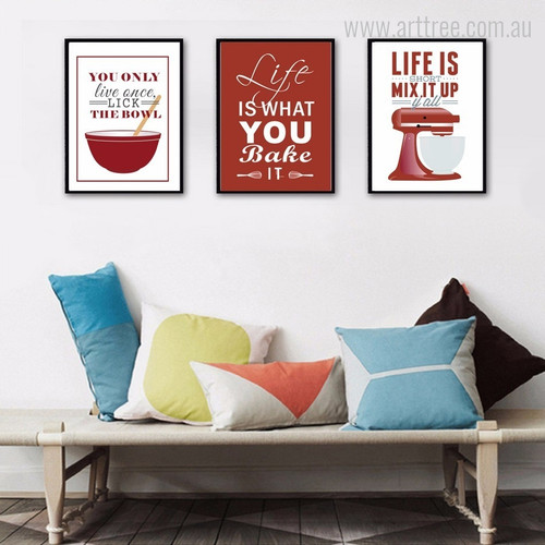 Red New Baking Life Quotes Wall Art Decor
