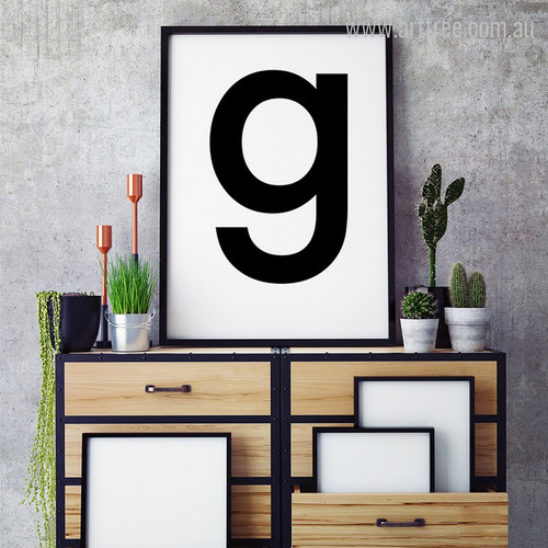 Contemporary G Letter Alphabet Graphic Wall Art