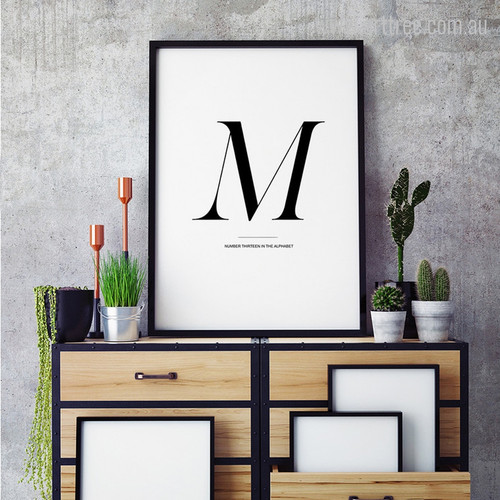 Contemporary M Letter Alphabet Graphic Wall Art