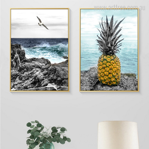 Seascape Gull Bird and Pineapple Photo Canvas Print