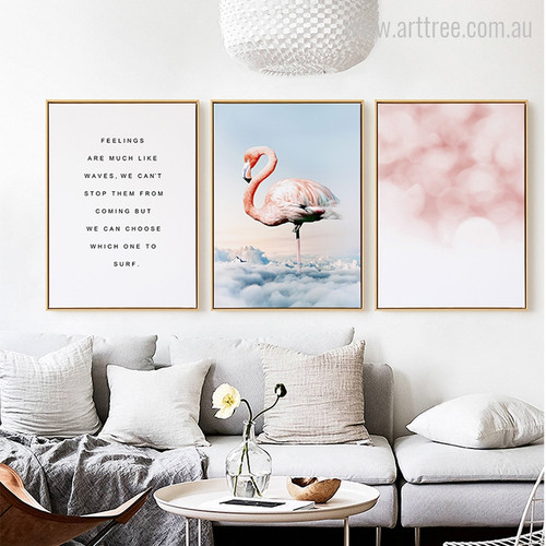 Feelings are much like Waves Quote, Flamingo Bird, Textured Wall Art