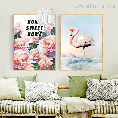 Home Sweet Home Floral Quote, Flamingo Bird Wall Art