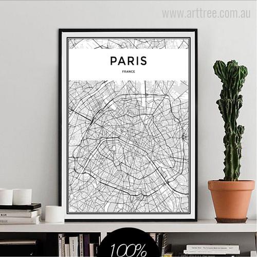 PARIS Capital France City Map Canvas Print