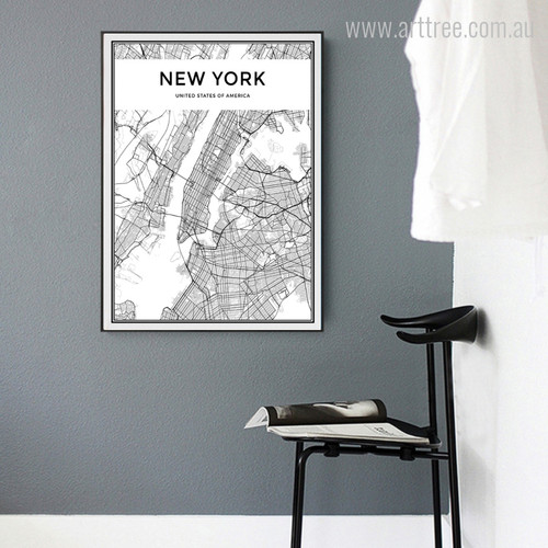 New York City Map United States of America Wall Decor