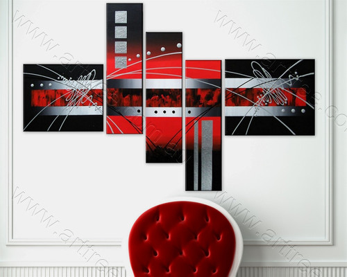 Grey Red Dark Rectangle Oil Painting
