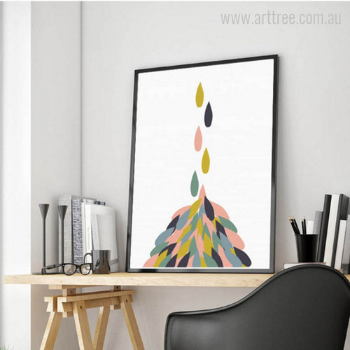 Geometric Colorful Falling Drops Nordic Canvas Print