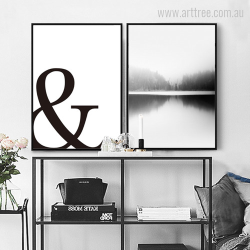 Modern Ampersand, Forest Water Black and White Prints